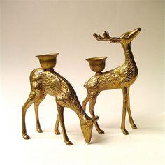 vintage Woodland Brass Deer Candle Holders