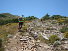 Trail running on Pentelis Mountain. Athens, Greece.