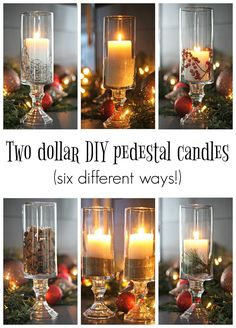 DIY pedestal candles (using dollar store items!) How to make DIY dollar store pedestal candles -- so cheap and easy and they look so beautiful!How to make DIY dollar store pedestal candles -- so cheap and easy and they look so beautiful! Cheap Christmas Lights, Dollar Tree Christmas, Christmas Diy, Christmas Houses, Xmas Trees, Christmas Wedding, Dollar Tree Decor, Dollar Tree Crafts, Diy Candle Holders