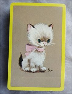 playing cards with pictures of cats on   Vintage Playing Card Single Deck Cat by MyQuietTimeBooksPlus, $4.99