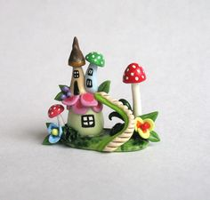 Miniature Whimsical Fairy Blossom & Toadstool Houses with Staircase OOAK by C. Rohal by ArtisticSpirit on Etsy https://www.etsy.com/listing/124592440/miniature-whimsical-fairy-blossom