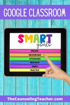 This interactive digital flip book is a fun way to teach SMART goals to students. Elementary School Counseling, School Counselor, School Teacher, Elementary Schools, Classroom Behavior Management, Flipped Classroom, Books For Teens, Google Classroom, Coping Skills