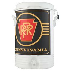 Pennsylvania Railroad Logo, Black & Gold Igloo Beverage Dispenser; $92.95 - #stanrail -  Igloo Beverage Cooler - Five Gallons ; Keep your team hydrated with a 5 gallon Igloo beverage cooler insulated with Ultratherm™ and designed to maintain ice for up to 3 days! Design a unique cooler with your images and text and fill it with thirst quenching liquids to keep cool on a hot sunny day. Great for outdoors, sports, parties, and on the jobsite!  @stanrails_store