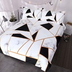 BlessLiving Marble Print Bedding White and Black Geometric Marble Duvet Cover 3 Pieces Elegant Faux Rose Gold Bed Sets (Queen) Marble Bed Set, Marble Duvet Cover, White Duvet Covers, Duvet Cover Sets, Bed Covers, Room Ideas Bedroom, Bedroom Sets, Bedroom Decor, Bedrooms