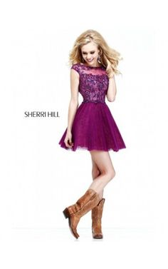 Cheap A-Line Appliqued Homecoming Prom Dress by Sherri Hill 21032