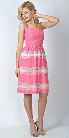 Darling Vintage 60s Pink Summer Dress by thekissingtree