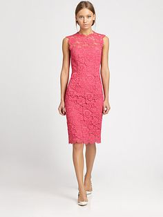 Saks  Valentino Tonal Lace Dress    I feel the back is WAY more interesting than the front. My mom likes how sheath dresses are making a comeback, although I feel they never went away. I usually get irritated when I see them with ugly necklines, but this is very plesant and the length isn't bad.