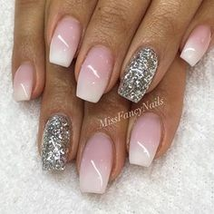 Pink ombre nail with glitter on ring finger