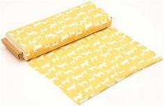 yellow deer stag animal organic knit fabric birch USA 3 £16 per metre modes4u