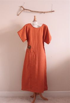rust linen dress by annyschoo solar studio