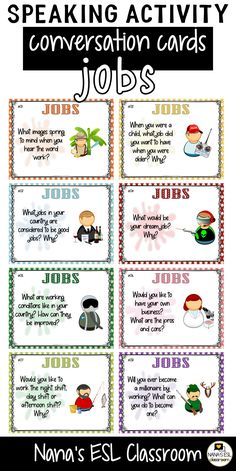 Ignite conversation in your classroom with these engaging conversation starter cards about jobs, profession and working A total of 40 cards with one or more questions per card. English Grammar For Kids, English Speaking Skills, English Worksheets For Kids, English Activities, Teaching Activities, English Lessons, English Vocabulary, Teaching English, Learn English