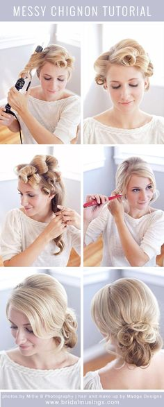 A chic and sophisticated romantic messy chignon from Bridal Musings. #hair #tutorial