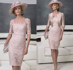 Pink Mother Of the Bride Dress Knee Length Lace Wedding Guest Party Gown +Jacket