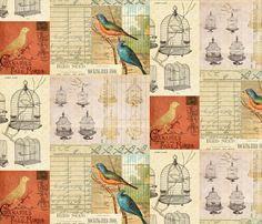 Vintage Botanical Bird Collage fabric by jodielee on Spoonflower - custom fabric