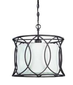 Monica Oil Rubbed Bronze One-Light Drum Pendant with White Fabric Shade modern-pendant-lighting Cage Pendant Light, Bronze Pendant Light, Modern Pendant Light, Drum Pendant, Pendant Light Fixtures, Ceiling Pendant, Drum Light Fixture, Lamp Bulb, Ceiling Fixtures