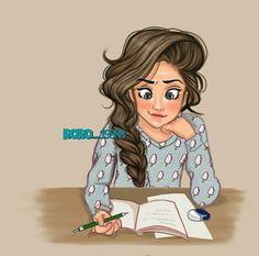Cute Cartoon Girl, Couple Cartoon, Girly Drawings, Art Drawings Sketches Simple, Claudia Rodriguez, Studying Girl, Cute Baby Girl Images, Girly M, Portrait Cartoon