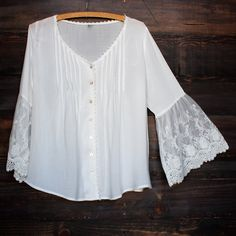 crochet lace bell sleeve button up top - white boho bohemian gypsy summer vibes spring outfit
