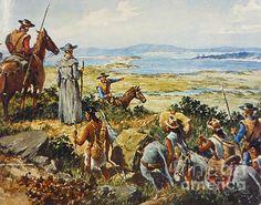 Junipero Serra by Granger - Junipero Serra  - Junipero Serra (1713-1784). Originally, Miguel Jos Serra. Spanish missionary in America. Father Serra with Gaspar de Portola's expedition at San Diego, California in 1769.