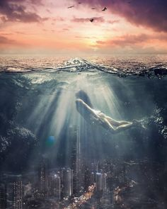 A digital art fantasy girl, underneath the sea. This digital art girl almost looks like a mermaid as she swims underneath the sea. I combined a city landscape with the ocean to create this digital art fantasy piece. Underwater City, Underwater Photos, Underwater Photography, Art Photography, Underwater Wallpaper, Arte Digital Fantasy, Fantasy Art, Water Art, Animation