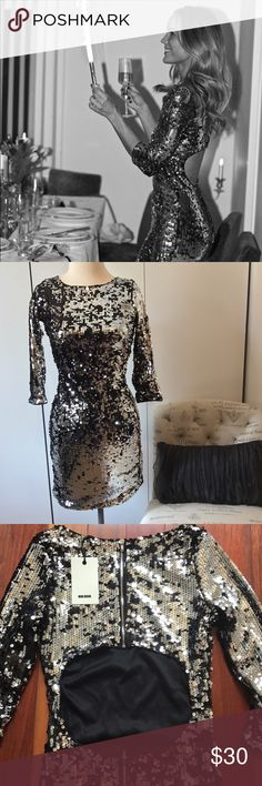 NWT Bik Bok Norway Sequin Dress. NWT Bik Bok Dress - Form Fitting/Bodycon Dress -Black & Silver With Sequins - Size XS - Purchased From Bik Bok In Norway. BIK BOK Dresses Mini