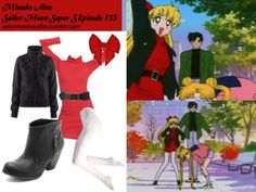 Like Sailor Moon Outfits on Facebook!  Requested by: kutekoolkat American Apparel solid rib turtleneck dress in Red American Apparel opaque pantyhose in White HM sweatshirt jacket in Black Charlotte Russe beaded waist belt Luna Bowtique senshi hairbow in Red Charlotte Russe side-zipper western bootie in Black