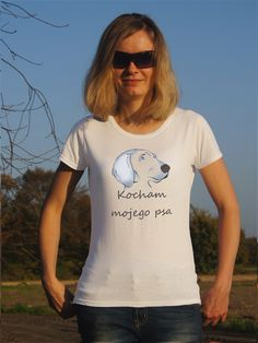 T-shirt ręcznie malowany z psem rasy wyżeł weimarsi z napisem jaki tylko chesz.