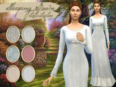 Created By Lollaleeloo Vintage Nightgown by LollaLeeloo Created for: The Sims 4 The package contains a nightgown in six patterns/colors from the Edwardian era. Ruffled, flowing and with a cute little...