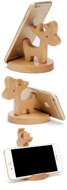 Wooden Deer Cell Phone iPad Stand Holder