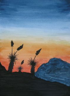 Watercolor Yucca sunset