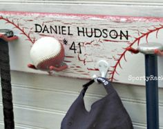 Baseball Decor Wall Rack Bat Ball Hat Hook Hanger Personalized Furniture Nursery Children Teen Room Sports Theme Team Colors OOAK Unique