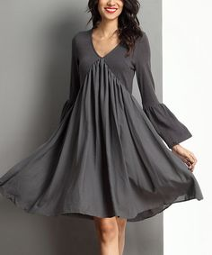 Love this Charcoal V-Neck Bell-Sleeve Dress on #zulily! #zulilyfinds