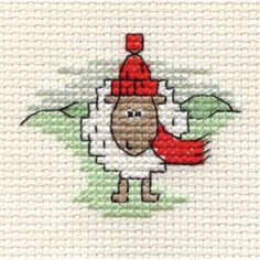 Hobbycraft Christmas Sheep with Red Scarf Mini Cross Stitch Kit 6.4cm. Ideal for tree ornaments and hoops! ;) Mo