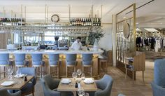 The Corner Restaurant and Champagne Bar Designed by Stiff & Trevillion Chairs and stools by Republic of Living