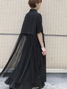 Korean Japan Style Women Long Chiffon Shirt Irregular Mesh Stitching Single-breasted Top School Casual Tee Shirt 2020 Spring New Abaya Fashion, Muslim Fashion, Fashion Dresses, Mode Abaya, Mode Hijab, Designer Party Dresses, Kpop Outfits, Chiffon Shirt, Japan Fashion
