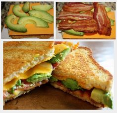 Bacon Avocado Grilled Cheese - Instructions:  Make a Grilled Cheese... but add Bacon and Avocado lol :)  Sooooo delicious!