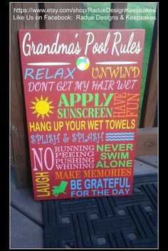 Hey, I found this really awesome Etsy listing at https://www.etsy.com/listing/216532922/pool-rules-sign-personalized-custom-sun