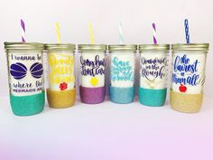 4 Princess Mason Jar Tumblers of Your Choice /// Disney Inspired /// Glitter Tumblers /// Mason Jars