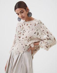 Pull fait main Flower Crochet en mohair et alpaga
