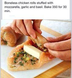 Baked mozzarella basil and Garlic Boneless chicken rolls