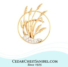 We wanted to share one of our Goldsmith's newest creations with you! What do you think? 14Kt Gold Sanibel Sea Oats in Circle with Diamonds. #SeaOats #ShopOnSanibel #Handmade #CedarChestOriginal