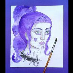 Purple Hair, Art For Sale, Original Paintings, The Originals, Portrait, Artwork, Work Of Art, Auguste Rodin Artwork, Violet Hair
