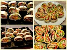 Rolls with tortilla and ham Monkey Business, Food Design, Ratatouille, Ham, Sushi, Sausage, Rolls, Food And Drink, Appetizers