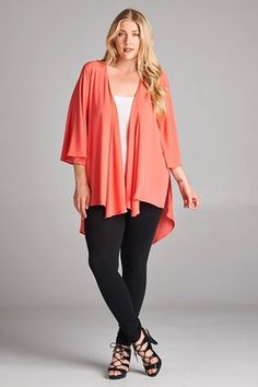 730c065cd Plus Size Kimono Cardigan Coral Curvy Women Outfits, Clothes For Women,  Dress With Cardigan