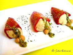 Pimientos del piquillo rellenos de crema de garbanzos con mostaza al pesto http://blgs.co/05SUIs