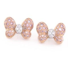 These are colorful, charming butterfly earrings from Chopard. They?re a great size. Small, but not tiny. The rose gold and the pink diamonds look so terrific to
