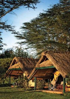 Thatched tents at Sweetwaters, a camp in the Ol Pejeta Conservancy, Kenya.