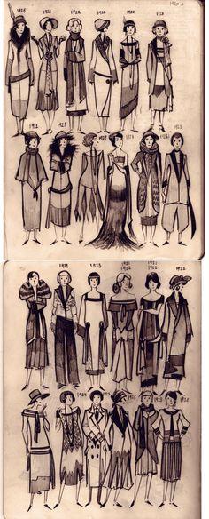 20-s women fashion Moleskine doodles by ~Phobs0
