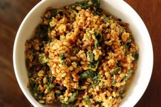 Bengali Toasted Moong Dal with Spinach (Bhaja Moong Palak)