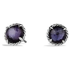 Women's David Yurman 'Chatelaine' Earrings (440,425 KRW) ❤ liked on Polyvore featuring jewelry, earrings, black orchid, imitation jewellery, cabochon earrings, imitation jewelry, earring jewelry and david yurman
