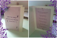 Menus for every table...Handmade by the Bride the day before the wedding :o)